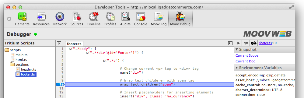 Moovweb Toolkit Debugger