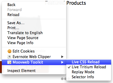 Moovweb Toolkit enable reload button